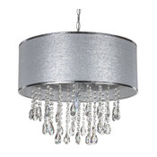 Large 5-Light Crystal Plug-In Chandelier With Cylinder Shade, Silver