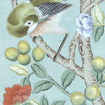 Chinoiserie Wall Mural Tea Garden Diptych, Sample - Sample of romanticized chinoiserie garden narrative with beautiful birds, flowers and characters.