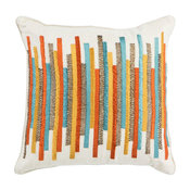 "Pillow L306 Teal and Gold Stripes, 18""x18"""