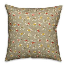 """Songbird Pattern, Tan Outdoor Throw Pillow, 16""""x16"""""""