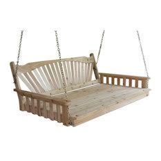 4' Cedar Swing Bed, Fanback Design Stain, Gray Stain