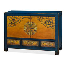 China Furniture And Arts Chinese Distressed Cabinet With Geometric Flower Design Dressers