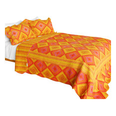 Burning Flame 3PC Vermicelli-Quilted Striped Patchwork Quilt Set (Full/Queen)