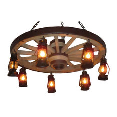 "The Wild West Large Wagon Wheel Chandelier, Reproduction, 42"" x12"""