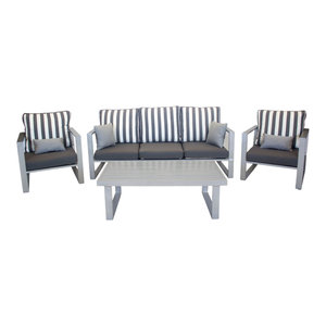 Outdoor 4-Piece Bolonia Furniture Set With 3-Seater Sofa, Silver