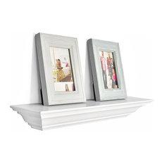 "Corona Crown Molding Floating Wall Shelf, 18"", White, 18"""
