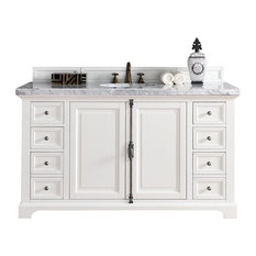 "Providence 60"" Single Vanity Cottage White, 3CM Charcoal Soapstone Quartz"