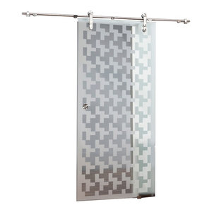 Single Sliding Glass Barn Door V1000 With Medieval Design