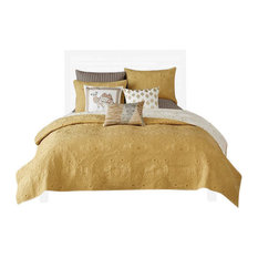 Percale Coverlet Set, Yellow, Full/Queen