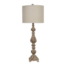 Slender Avian 1 Light Table Lamp in Antique Wood And White Wash