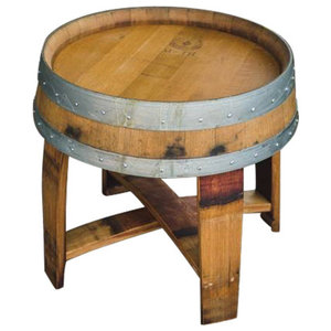 Outdoor Finish Wine Barrel Side Table With Cross Braces