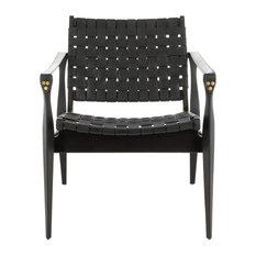 Safavieh Dilan Leather Safari Chair, Black/Black