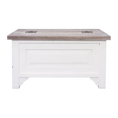 BB Designs   BB Design Cottonwood Square Trunk Coffee Table, Antique White    Coffee Tables