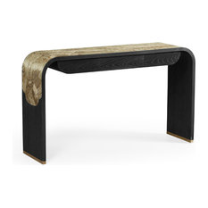 Curved Chinoiserie Style Antique Etched Brass and Ebonised Oak Console Table