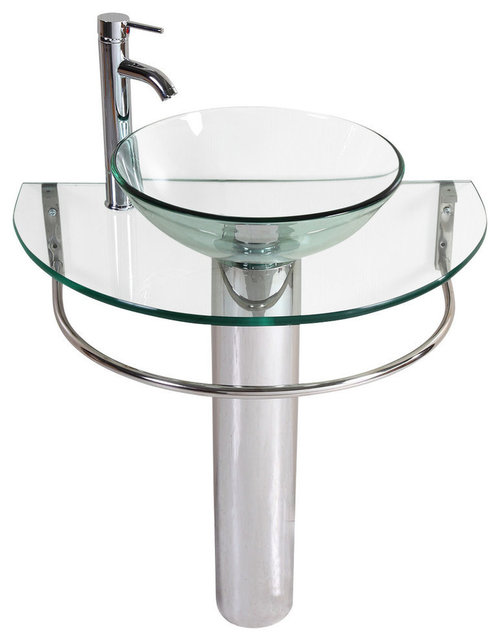 Glass And Chrome Pedestal Sink