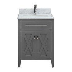 "Belvedere Traditional Freestanding Gray Bathroom Vanity With Marble Top, 24"""