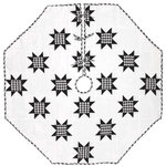 "VHC Brands - Emmie Black 60"" Patchwork Tree Skirt - Countrify your Christmas this year with the 60"" Emmie Black Patchwork Tree Skirt. A holiday significant 7 rows of 8-point stars are placed on a bright white background. Reverses to the black and white check found inside the stars. 100% cotton, hand-quilted."
