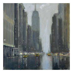 """""""Early Commute, 5th Avenue"""" Printed Canvas by Jon Barker, 40x40 cm"""