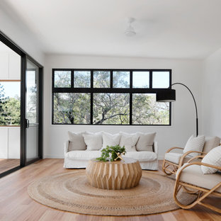 This is an example of a contemporary living room in Brisbane.