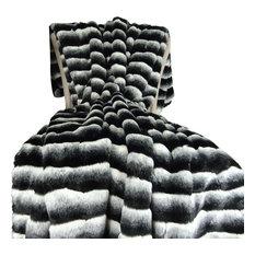 "Plutus Wild Chinchilla Faux Fur Handmade Throw, 48""x60"""