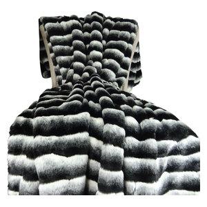 "Plutus Wild Chinchilla Faux Fur Handmade Bedspread, 80""x110"""