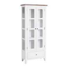 2-Door Glazed Display Cabinet, Pure White