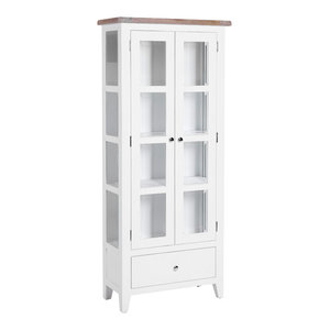 2-Door Glazed Display Cabinet, Pure White