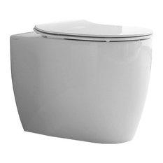 Round White Ceramic Wall Mount Toilet