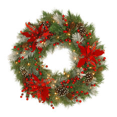"""Tartan Plaid Wreath With Battery Operated Warm White LED Lights, 30"""""""