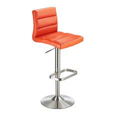 Swank Adjustable Padded Faux Leather Kitchen Bar Stool, Brushed Steel, Orange