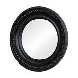 Small Black Beaded Effect Round Wall Mirror 25cm x 25cm