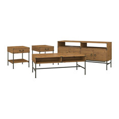 Ironworks TV Stand with Coffee and End Tables in Golden Pine - Engineered Wood