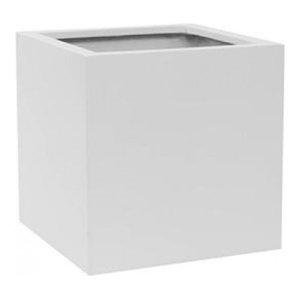 Square Fiberstone White Planter, 60x60x60 CM