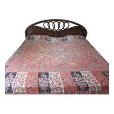 Mogul Interior - Pashmina Blanket Coral Red Jamawar Bedspread Cashmere Indian Bedding - Blankets
