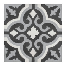 """SomerTile 7.88""""x7.88"""" Cement Floor and Wall Tile, Moonbeam, Cavado"""