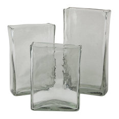 Clear Ice Blown Glass Vases, 3-Piece Set