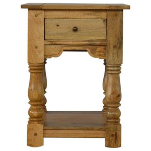 Country Style 1-Drawer Bedside Table With Shelf, Oak Finish Mango Wood