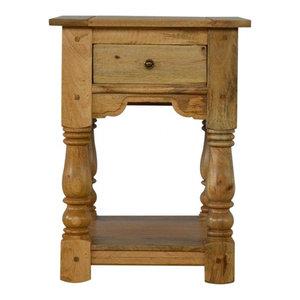 Country Style 1-Drawer Bedside Table With Shelf, Oak Finish Mango Wood