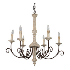French Country Candle-Style Wooden Chandelier