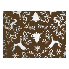 Chocolate Christmas Silhouette Wipe-Clean Tablecloth, Oval, 240x160 cm