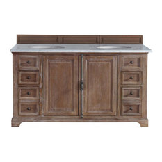 "Providence 60"" Driftwood Double Vanity w/ 3cm Snow White Quartz Top"