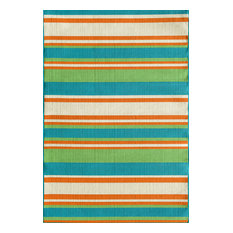 "Crosby Stripe Area Rug, Snow/Orange, 60""x87"", Turquoise, 7'10""x9'10"""