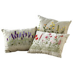 Melrose International - Flower Burlap Pillows, 3 Asst, Beige/Multi - Three pillows each with a whimsical design. Wispy flowers in pink, purple or yellow pop off of the burlap fabric. Lovely for any spring porch!