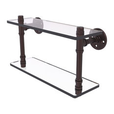 "Pipeline Collection 16"" Double Glass Shelf, Antique Bronze"
