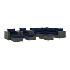 Modway Sojourn 10 Piece Outdoor Patio Sunbrella Sectional Set Canvas Navy Sofas