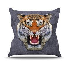 """Ancello """"Abstract Tiger"""" Gray Orange Outdoor Throw Pillow"""
