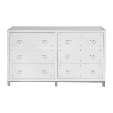 6-Drawer Dresser With Nickel Studs and Base, White