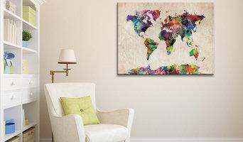Watercolour Art World Map Canvas