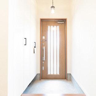 Modelo de hall papel pintado y papel pintado, contemporáneo, pequeño, papel pintado, con paredes blancas, suelo de madera en tonos medios, puerta simple, puerta de madera en tonos medios, suelo marrón, papel pintado y papel pintado