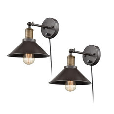 Industrial Oil Rubbed Bronze Finish Wall Sconce, 2-Pack